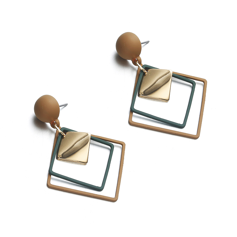 Simple Style Fashion Silver Gold Color Earrings for Women Square Round Geometric Hanging Earrings 18 Female Pendientes Jewelry 51