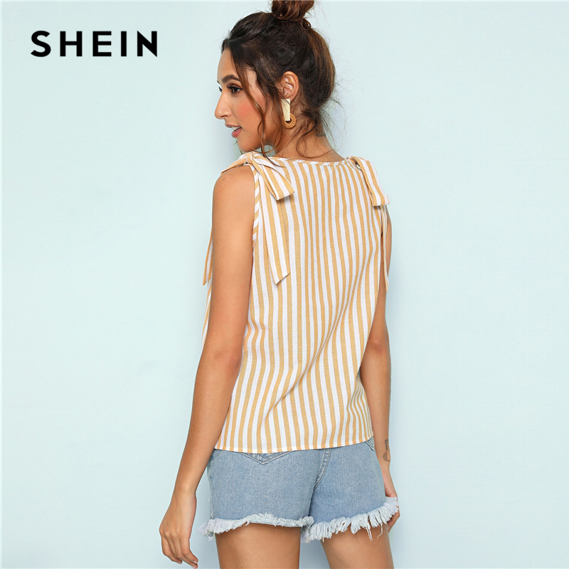 SHEIN Knot Shoulder Button Front Yellow Striped Tank Top Women 2019 Summer V Neck Button Detail Cute Casual Vest Tops