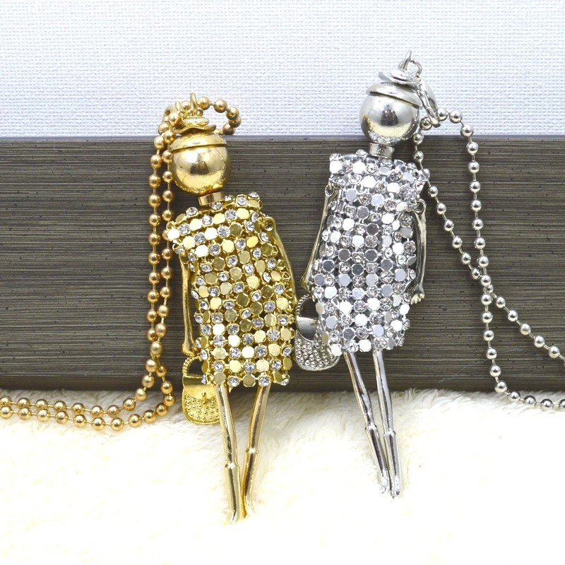 2016 New Fashion Sweet Girls' gold silver Doll Pendant Long s