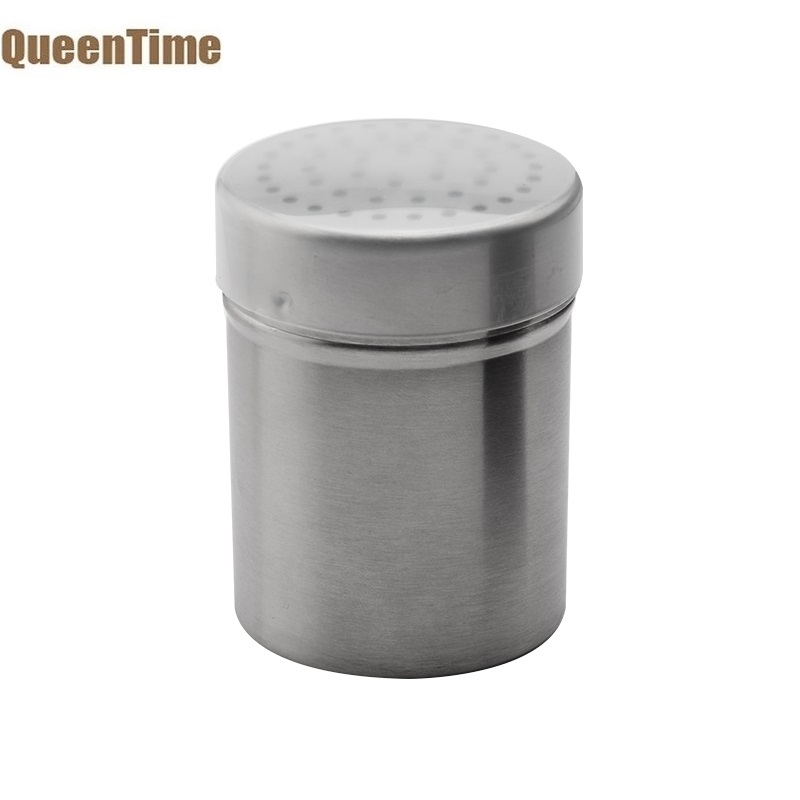 QueenTime Salt Bottle Servers Spice Pepper Shaker Stainless Steel Spice Bottles Manual Spices Cellars Kitchen Accessories