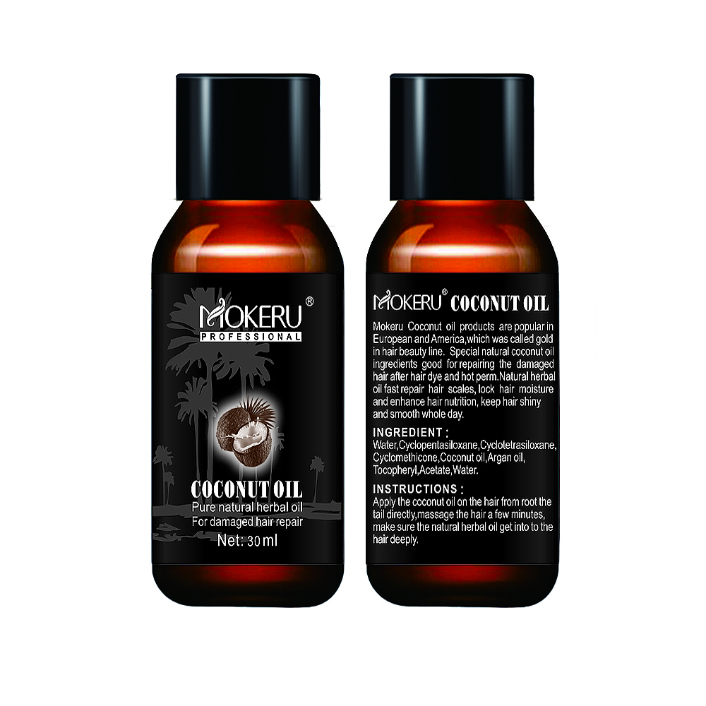 Mokeru 2pcs/Lot Natural Smoothing Repair Damaged Dry Hair Oil Spray Growing Virgin Coconut Oil Pure for Hair Skin Care Treatment 5