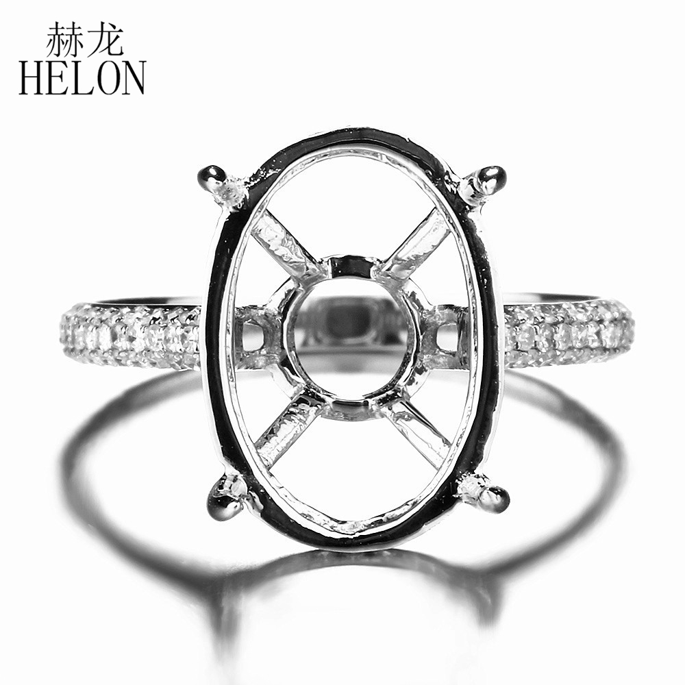 HELON 11x16mm Oval Cut Semi-Mount Engagement Wedding Diamonds Ring Solid 10K White Gold Fine Womens Natural Diamonds RingHELON 11x16mm Oval Cut Semi-Mount Engagement Wedding Diamonds Ring Solid 10K White Gold Fine Womens Natural Diamonds Ring