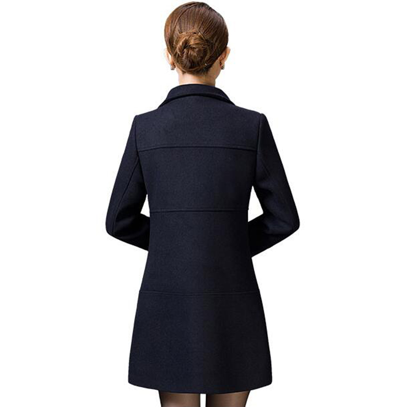 Middle Aged Women Wool Coat Nice Autumn Winter Mother Fashion Slim Long Sleeves Wool Coat High Quality Solid Color Coat LU211 - 2
