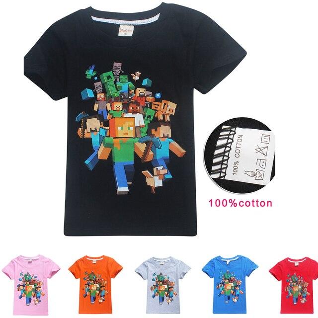 93d226389 My World Boys Girls Cotton Summer T-shirt Tops Cartoon Tees Short Sleeve MineCraft  T Shirt Boys Girls O-Neck Tees Tops 4-14T Kid