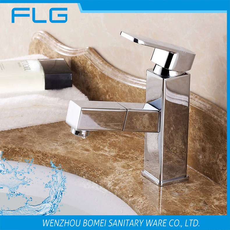 FLG 602A Pull Out Spray Single Handle Chrome Finished Solid Brass Square Bathroom Sink Faucet Basin