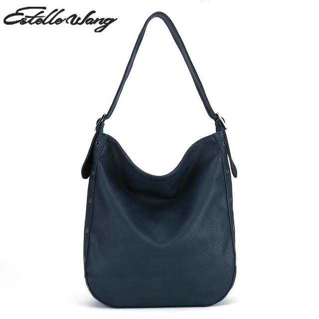 Estelle Wang Pu Leather Shoulder Bag European Women Half Moon Work Big Bag  Casual Tote Handbags Female Bolsas Femininas 2598ccfaba0f2