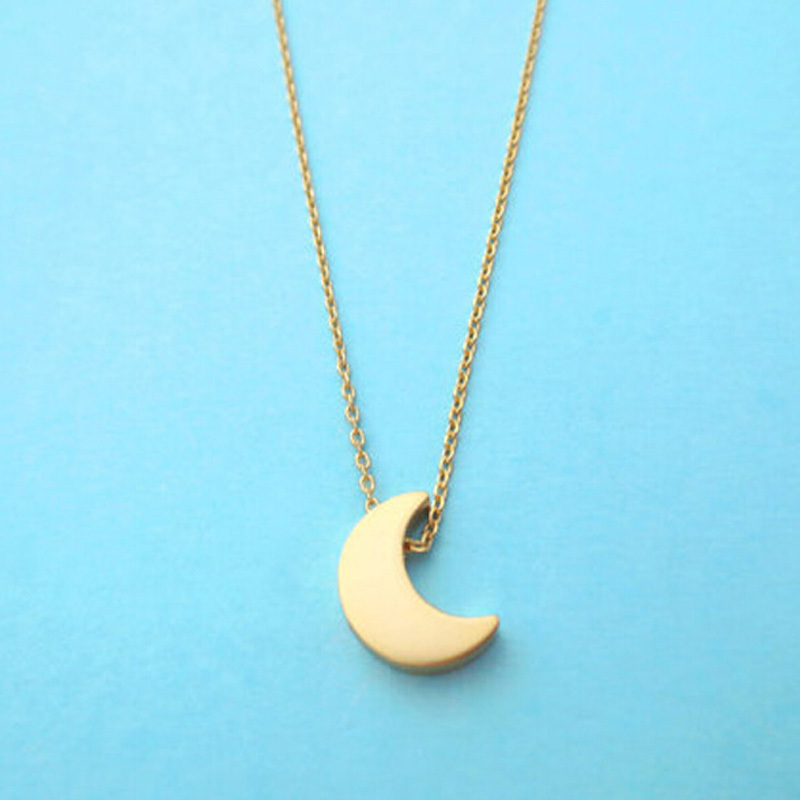 2015 New Simple Korean Style Women Gold Silver Crescent Moon Pendant ...