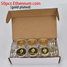 50pcs/Lot Ethereum coin  Gold Plated cryptocurrency Metal Home Decoration