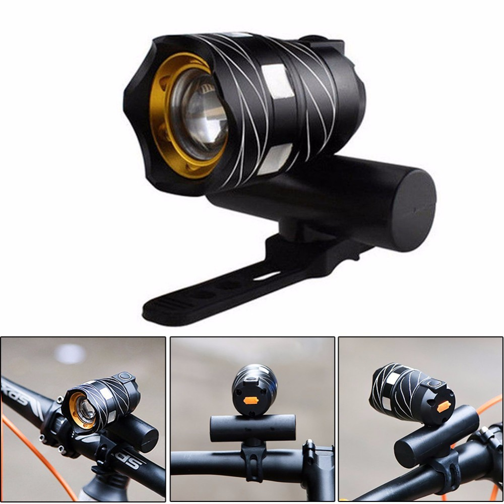 5000lm Zoomable XM-L T6 LED Bicycle Light Bike Front Lamp Torch Headlight with USB Cable Rechargeable Built-in Battery
