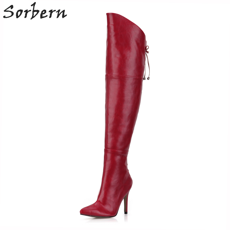 Sorbern Women Boots Over-the-Knee Ladies Party Boots Thin Heels Lace Up Pointed Toe Botas Mujer Winter Shoes Boots For Women fashion sorbern women boots high thin metal heels pointed toe zipper ladies party boots boots women zapatos mujer hot sale