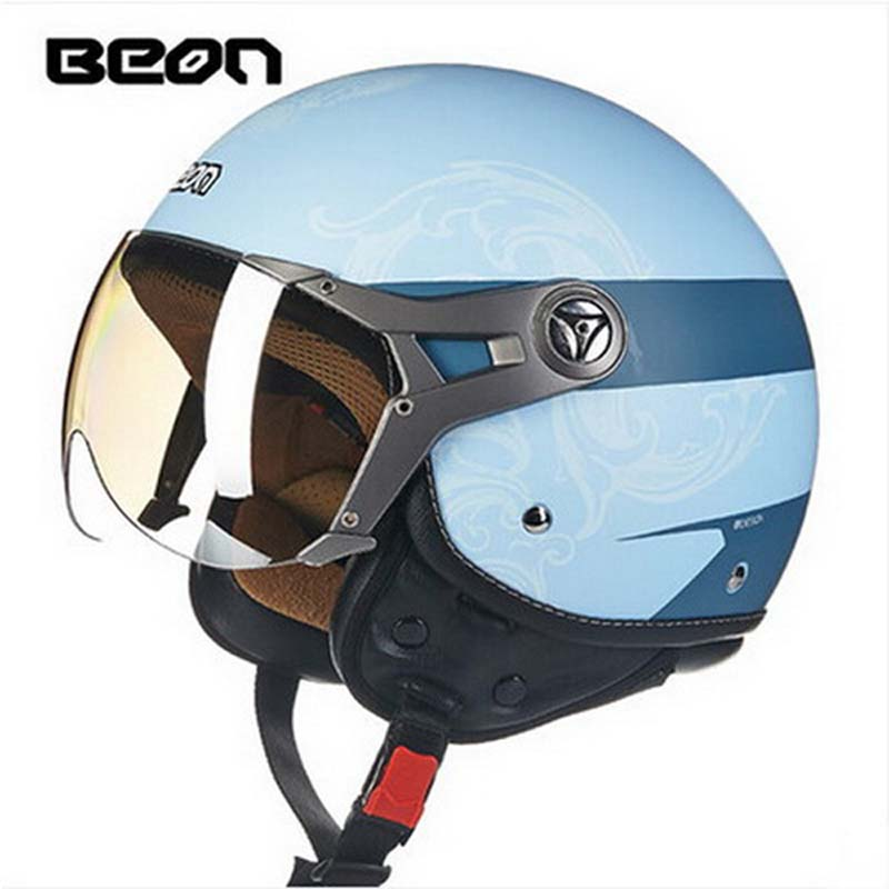 sky blue BEON B-100 motocross half face Helmet for men and women, BEON 100 motorcycle MOTO electric bicycle safety headpiece 2016 newest netherlands authorization beon retro air force harley style half face motorcycle helmet b 100 of abs matte black cat