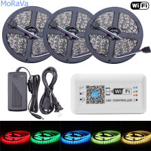 Tira de luz LED WiFi 5050 12 V 30 ledes/m cinta LED RGB cinta de cuerda Flexible impermeable + WiFi controlador LED + 12 V 2A 6A adaptador de corriente(China)