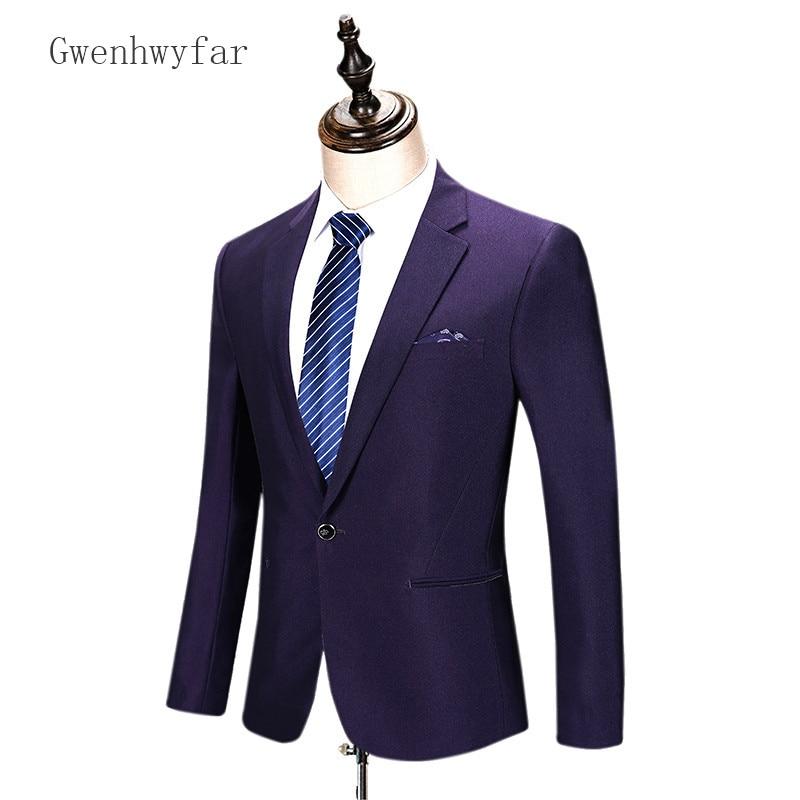 2018 New Luxury Jacket And Pants 2Pcs Mens Dark Purple Suits Classic