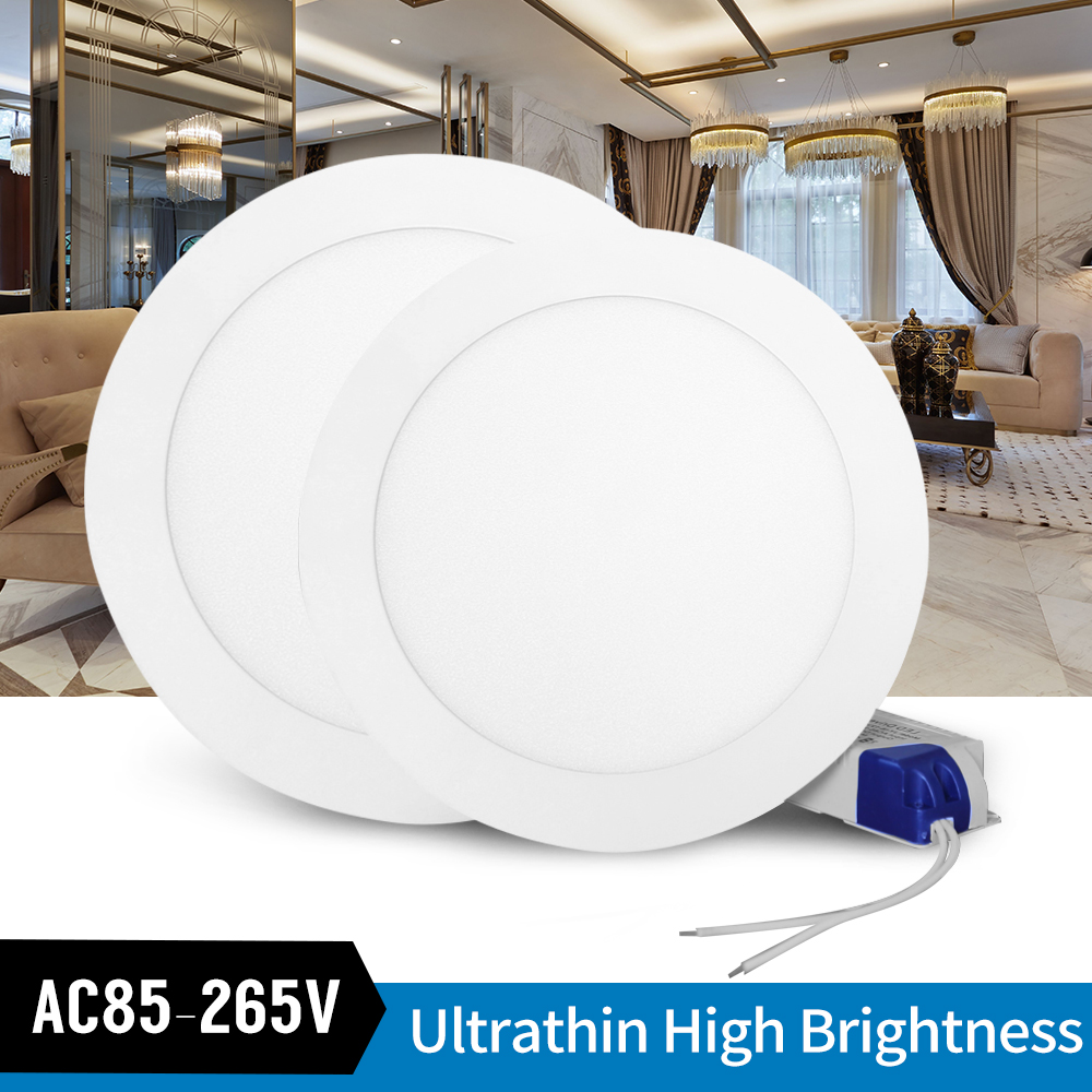 Ultrathin LED Downlight LED Round Panel Light 3W 6W 9W 12W 15W 18W Led Ceiling Recessed Grid Downlight  Lamp Lighting 110V 220V