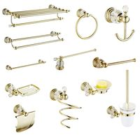 Bathroom Hardware Sets Soap Dish Solid Brass Toilet Brush Holer Gold Polished Towel Rack Crystal Bathroom Products Wall Mounted