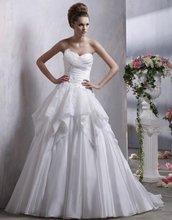 75-2 Elegant A-line Sweetheart Beadeds Ruffle Organza Wedding Dress Designer