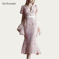 Для женщин Лето органзы лоскутное трепал кружевное платье V шеи Сексуальная bodycon Вечерние выдалбливают Формальные клуб розовый офисные пла