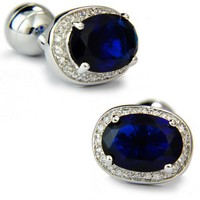 SPARTA Plated with White Gold dark blue AAA zircon cufflinks men's Cuff Links + Free Shipping !!! metal buttons