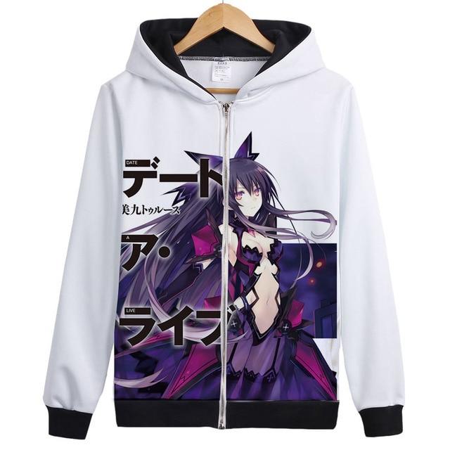 date a live cosplay tokisaki kurumi yoshino Hoodie Sweatshirt Zipper Outerwear Jacket coat cute lovely Anime Hoodies 2
