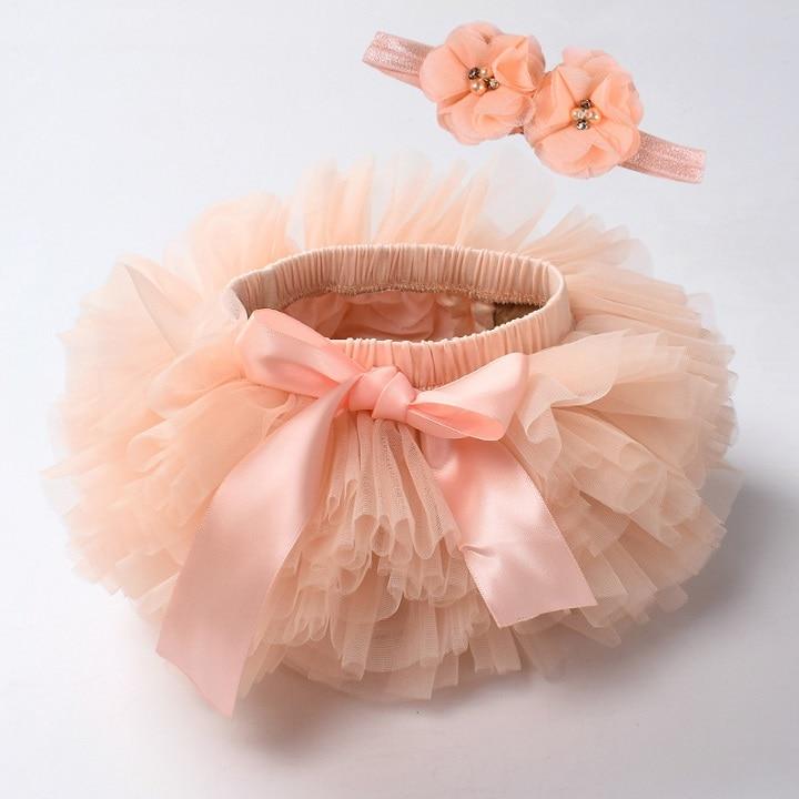 Юбка-пачка для маленьких девочек, комплект из 2 предметов, кружевные трусы из тюля, Одежда для новорожденных, Одежда для младенцев Mauv, повязка на голову с цветочным принтом, Детские сетчатые трусики - Цвет: peach