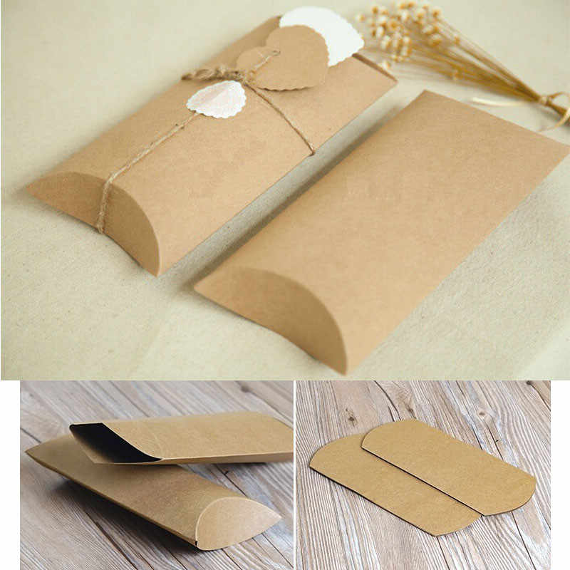 2 size Kraft paper pillow packing gift candy box,Wedding favour Kraft Paper Pillow Box,kraft pillow gift packaging box,gift box