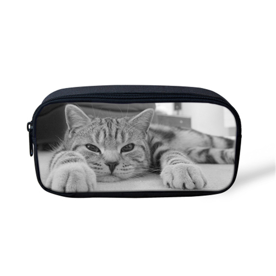 Noisydesigns cute cats gray simple fresh print 3D Girl Make up Cases Cosmetic Bags gorjuss for travelling Portable Supplies