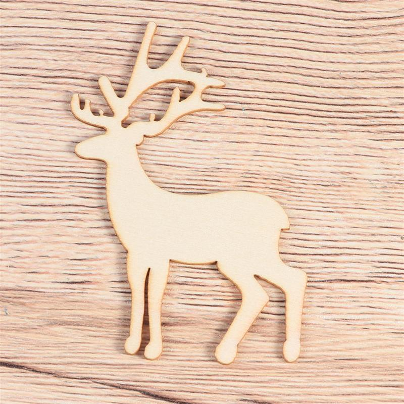 5pcs Laser Cut Wooden Reindeer Slices Christmas DIY Crafting Decoration Christmas Tree Pendants Hanging Ornaments A3