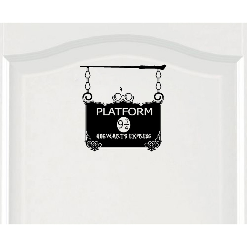 YOJA 24.8*25CM Fashion PLATFORM 9 3/4 Decoration Door Decal Wall Sticker Accessories Black A40602