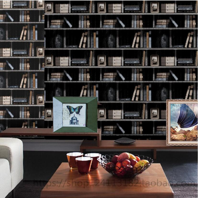 American 3d bookshelf pvc waterproof wallpaper bookcase for Wallpaper pvc 3d
