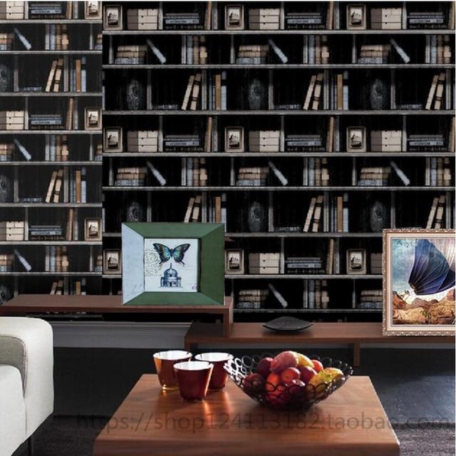 American 3d bookshelf pvc waterproof wallpaper bookcase wallpaper ...
