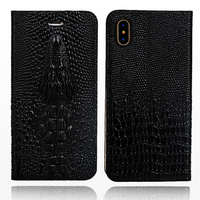 100% GENUINE COW LEATHER FLIP COVER IPHONE CROCODILE SKULL