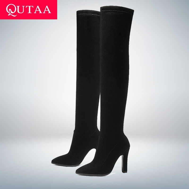 QUTAA 2020 Kadın Diz Üzerinde Yüksek Çizmeler Kış üzerinde Kayma Ayakkabı Ince Yüksek Topuk Sivri Burun Tüm Kadınlar için çizmeler Boyutu 34-43
