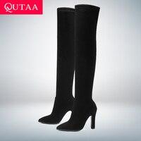 QUTAA 2020 Vrouwen Over De Knie Hoge Laarzen Slip op Winter Schoenen Dunne Hoge Hak Wees Teen Alle Match Vrouwen laarzen Maat 34-43