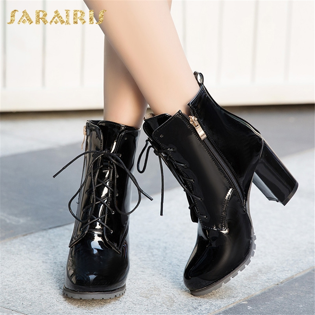 SARAIRIS Plus Size 31-50 Party Wedding Boots women's Shoes Woman Thick High Heels Zip Up New Fashion Ankle Boots Woman sarairis new plus size 32 43 sequin add fur winter boots woman new fashion dropship zip up ankle boots woman shoes woman