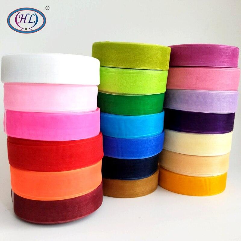 HL 1 «(25 мм) 10 м/лот одноцветное Цвет ленты из органзы Свадебная вечеринка Декоративные DIY подарочная коробка упаковочная пояс, делая банты на голову