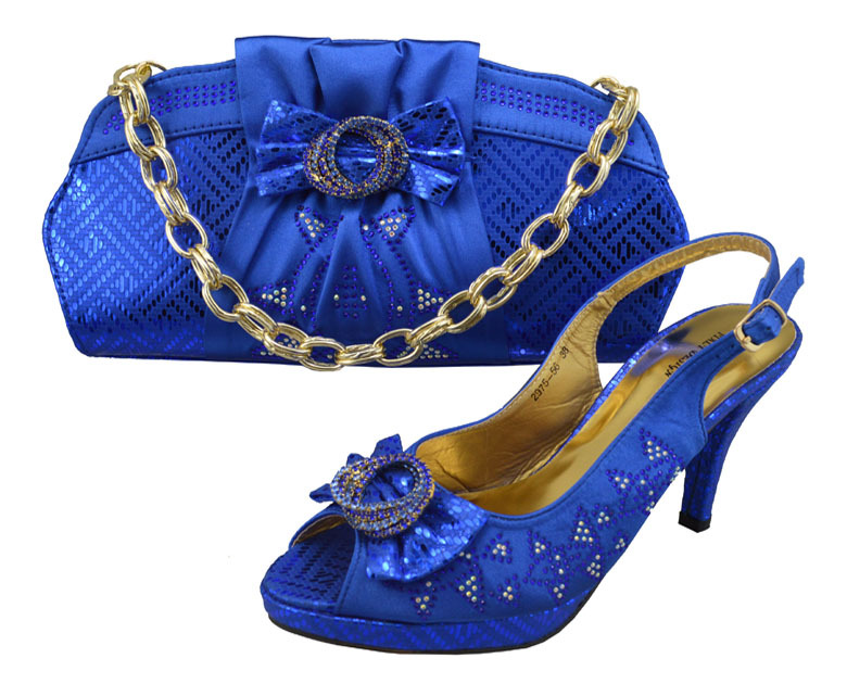 Gf20 Royal Blue Italian Design Wedding Shoes And Matching Bags