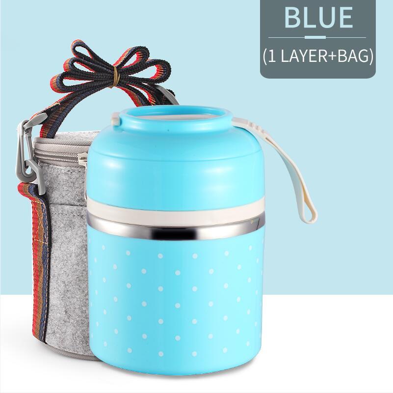 Милые детские Термальность Коробки для обедов герметичность Нержавеющая сталь Bento box для детей Портативный Пикник школа Еда контейнер Box - Цвет: Blue 1 With Bag