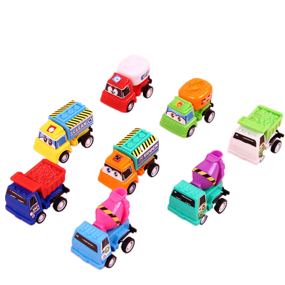 High Quality 8pcs / lot Pull Back Car Toy Mini cars Cartoon Kids Toys For Children Boys Gifts Vehicle Toys Baby Birthday Gift