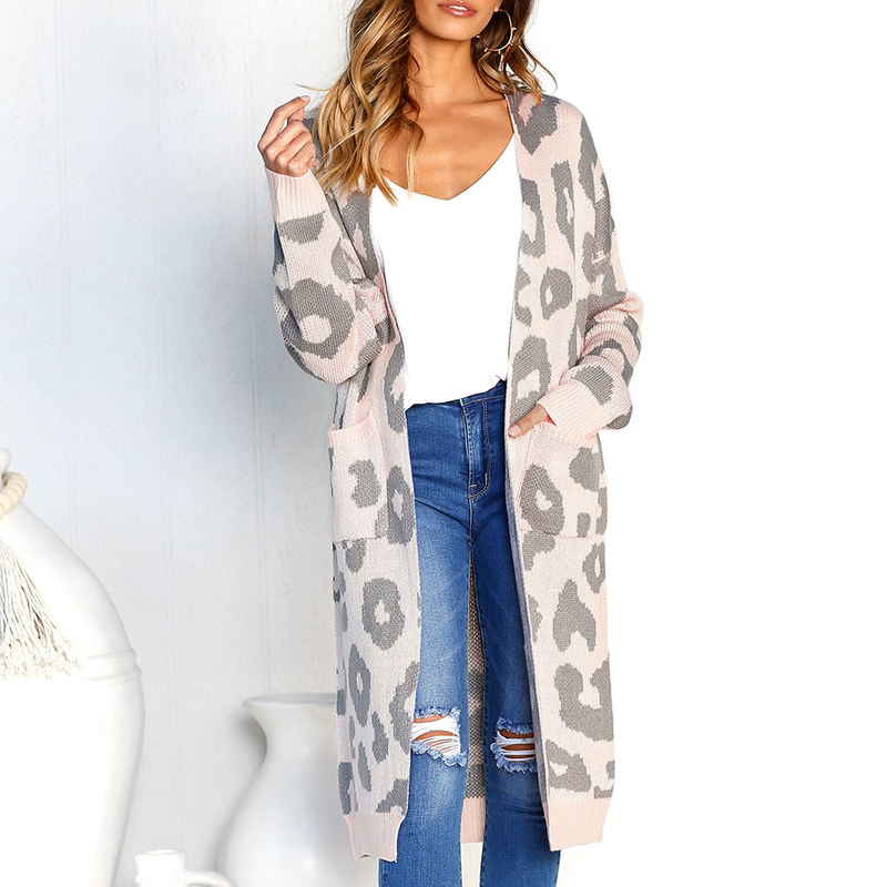 ed7f3d4c74a 2018 Autumn Winter Leopard Print Women Loose Cardigan Sweater ...