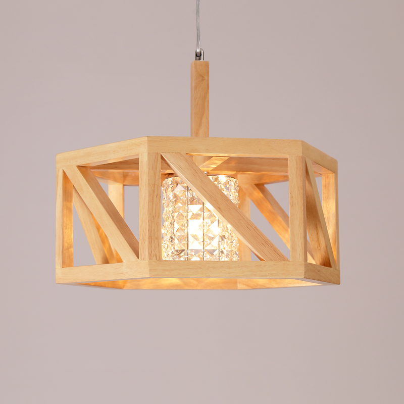 Nordic simple Pendant Light modern dining room bedroom study bar Japanese real wood color crystal single Pendant Lights TA91912 modern simple creative pendant light bar hotel pendant decorative light aluminum crystal pendant lights bedroom lamp lighting