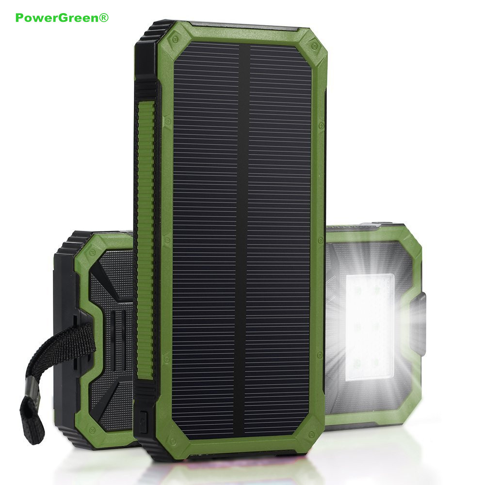 100% Original PowerGreen Mini Solar Power Bank 15000mAh External Solar Battery Energy Backup Charger Solar Cell Panel for Phone