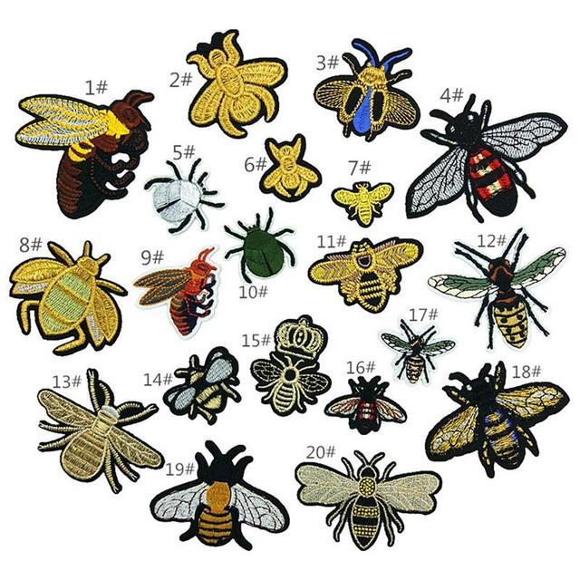 20 unids/set bordado abejas insectos patrón hierro en coser en tela ...