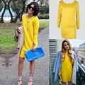 Роскошные Сексуальные Горячие Поп Моды Выдалбливают Вернуться Длинным Рукавом свободные Платье Ярко-Желтый Выше Колен Шею Прямо платье