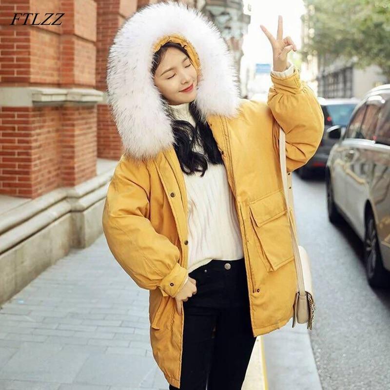 FTLZZ Women Down Cotton Long   Parkas   Winter Big Fur Collar Hooded Pockets Jackets Coat Female Thick Warm Snow Outwear