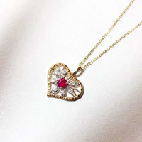 ANI 18K Rose/Yellow Gold Pendant Necklace Ruby or Opal Fine Color Gemstone Jewelry Diamond Heart Women Engagement Necklace