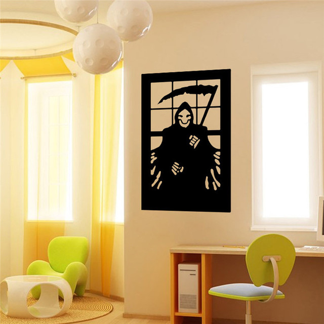 vinyl removable 3d wall sticker halloween sickle devil decals for