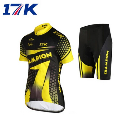 2015 Hot Sale 17K women yellow short Sleeve Cycling jersey Bicycle bike Clothing wear With cycling Pants Sets Size :M ~XXXL