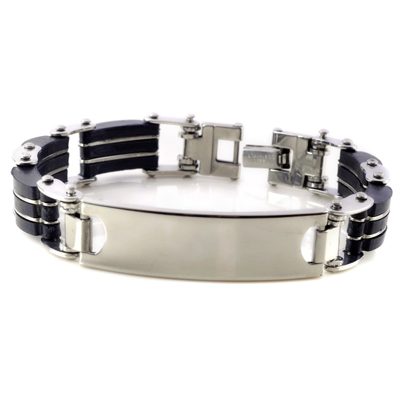 1pc Classic Fashion Black Silica Gel+ Silver Stripes Stainless Steel Cuff Bracelet Bangles for Men Jewelry 2