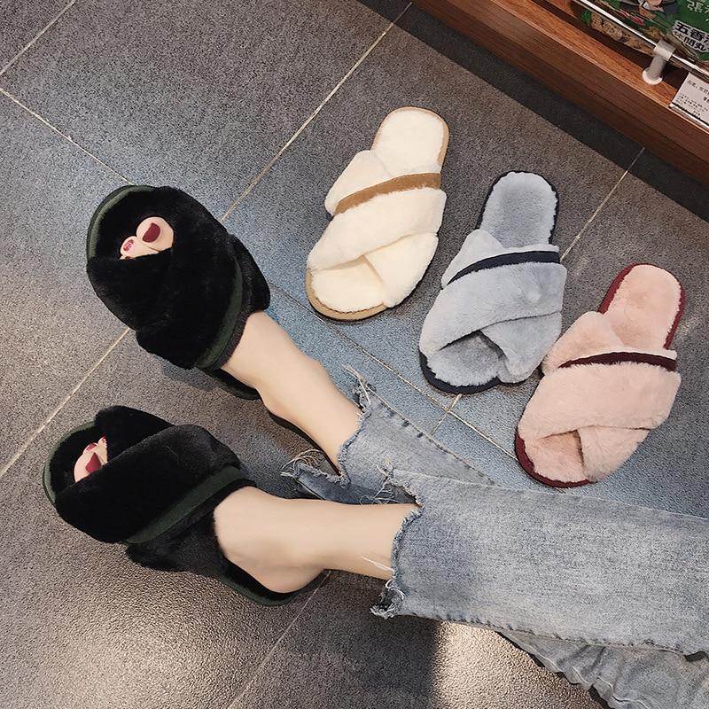 Pantufa Beige Piel Furry Mulas Sandalias Mezclados Tamaño Grande rosado negro Mujeres Flops Inicio Cruz Flip Colores Invierno gris Mujer De Cosy Nueva Zapatos v4EwqHOEx