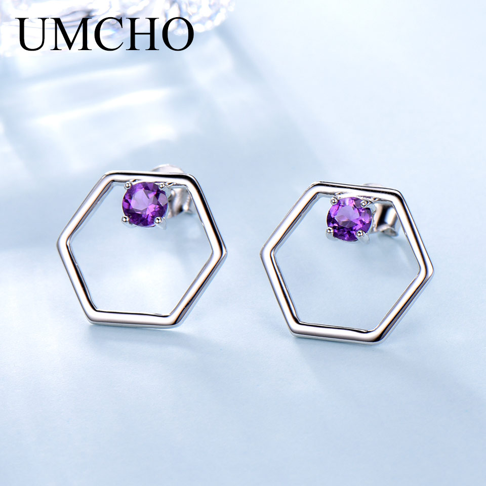 UMCHO Natural African Amethyst Stud Earrings For Women Solid 925 Sterling Silver Jewelry Purple Genuine Gemstone Birthstone Gift